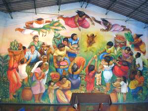 Nativity mural at liberation theology church - click to enlarge image